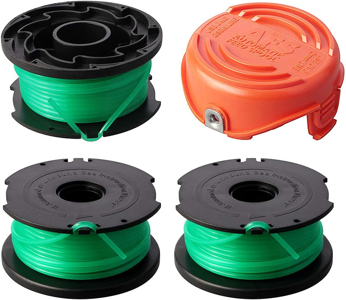 """THTEN String Trimmer Spool Replacement for Black and Decker SF-080 GH3000 LST540 Weed Eater 20ft 0.080"""" GH3000R LST540B Auto Feed Single Line with 90583594Cap Covers Parts"""