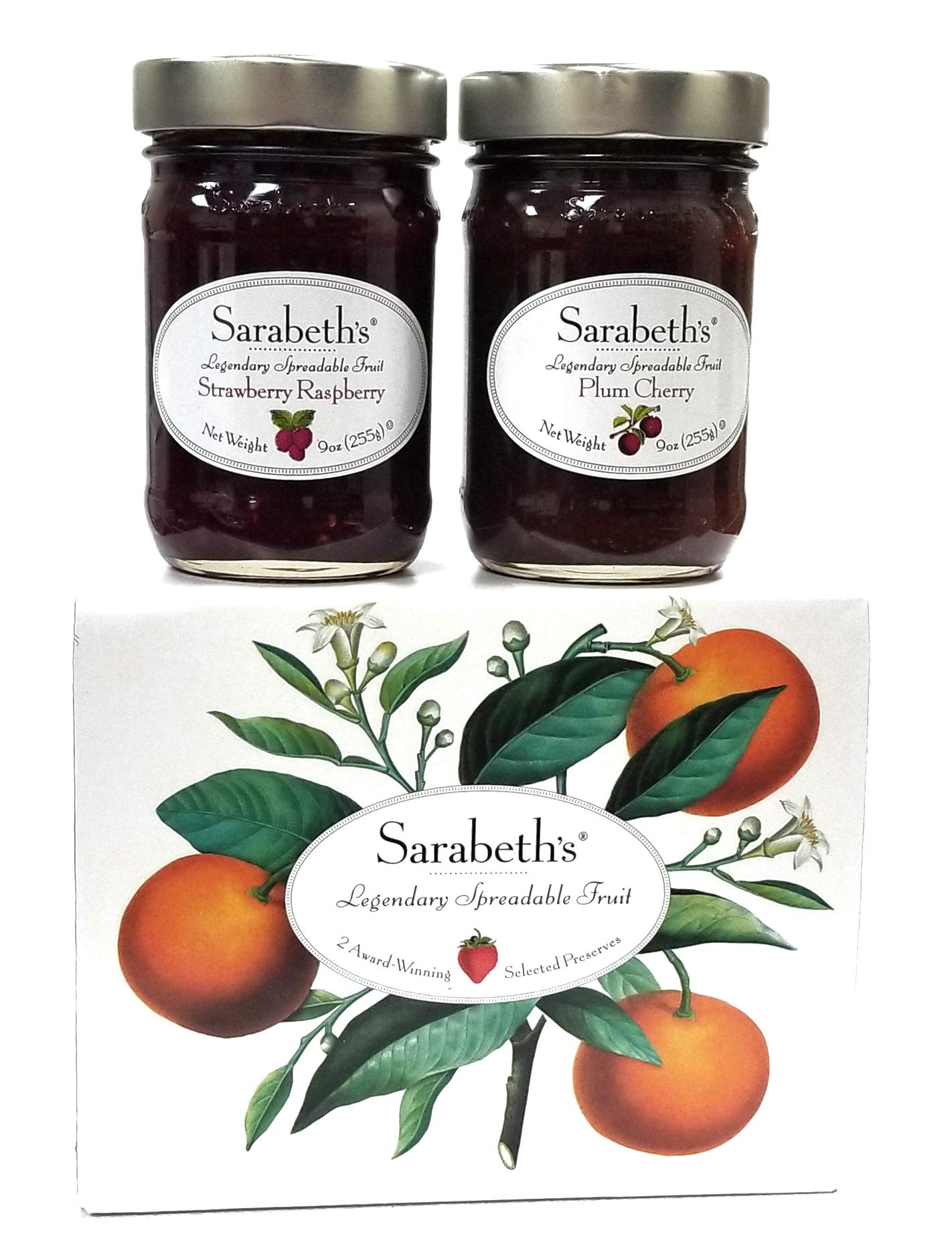 Sarabeth's Fall Two Jar Gift Box Set - Two 9 oz. jars - Plum Cherry and Strawberry Raspberry