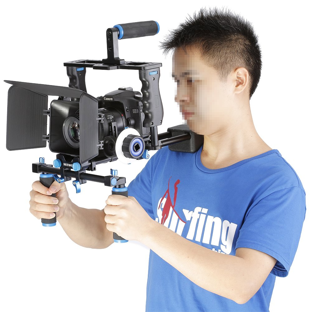 Neewer Aluminum Film Movie Kit System Rig for Canon/Nikon/Pentax/Sony and other DSLR Cameras,includes:(1)Video Cage+(1)Top Handle Grip+(2)15mm Rod+(1)Matte Box+(1)Follow Focus+(1)Shoulder Rig by Neewer