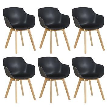 Esszimmerstühle modern mit armlehne  EGGREE 6er Set Esszimmerstühle Skandinavisch mit Armlehne und Starke ...