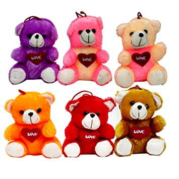 PleaseDaddy Mixed Color Small Teddy Bears with Love Wish In Hands (7-inch, Multicolour) - Pack of 6