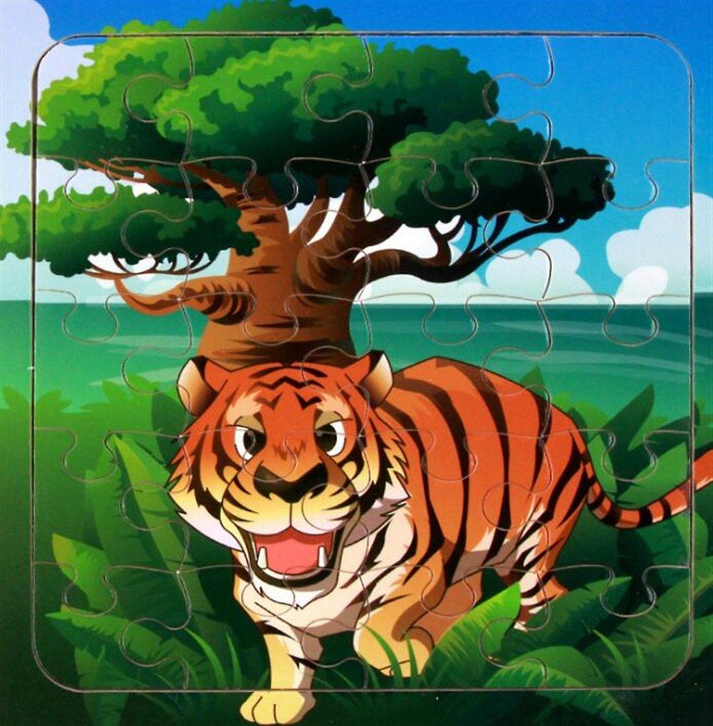 Zicue Educativos Niños Jigsaws Nuevo Rompecabezas cognitivo de Madera Early Learning Animal Toy Fantásticos Regalos para niños (Tiger)