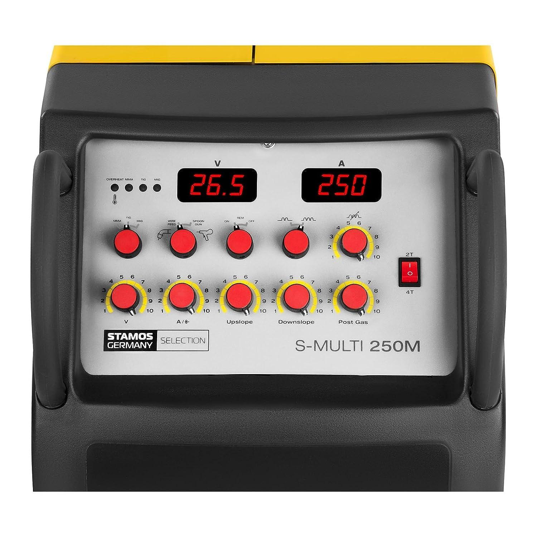 Stamos Welding Soldadora multiproceso MIG/MAG MMA WIG FCAW S-MULTI 250M (400 V, 250 A/Ciclo de trabajo 60%, Hot Start, Arc Force, Anti-Stick, Función de 2 y ...