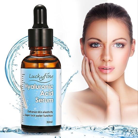 Luckyfine Suero Ácido Hialurónico, Acido Hialuronico 10% y Vitamina C + Vitamina E - Serum facial hidratante para la piel: Amazon.es: Salud y cuidado ...