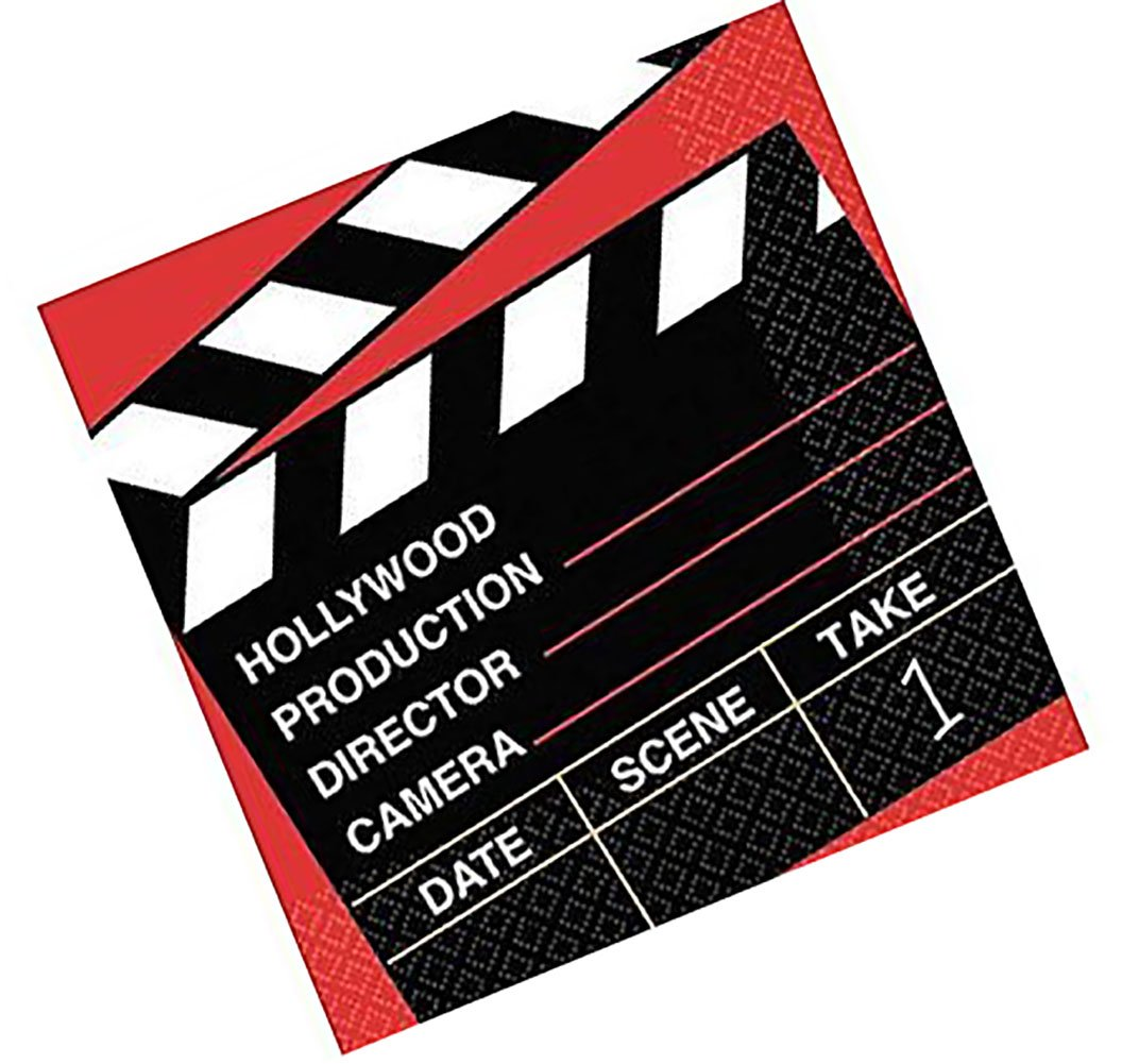 """Custom Made & Disposable {6.5"""" Inch} 36 Count of 2 Ply Mid-Size Size Square Food & Beverage Napkins, Made of Soft Absorbent Paper w/ Holly Wood Movie Night Birthday Party Style {Red, Black, & White}"""