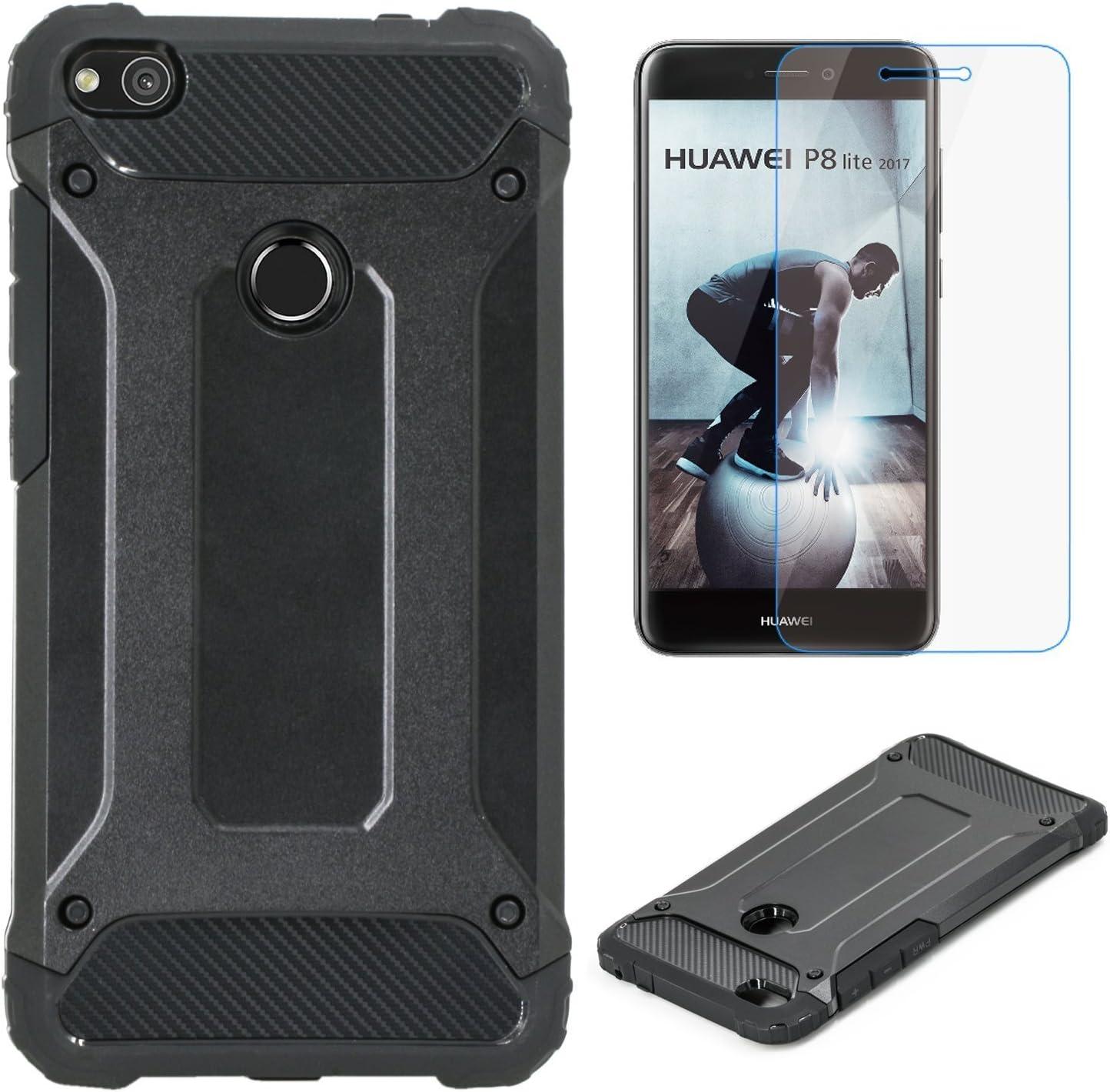 Electro-weideworld Huawei P8 Lite 2017 Funda, [Pesada] [Doble Capa] Carcasa de Protección Hibrida Armadura Funda para Huawei P8 Lite 2017 + 1 x Protector de Pantalla: Amazon.es: Electrónica