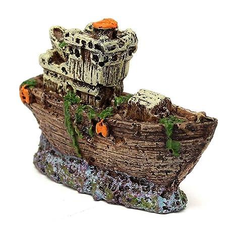 fish Ornamento del acuario del barco pirata hundido Barco naufragio Tank Waterscape cueva Decoración