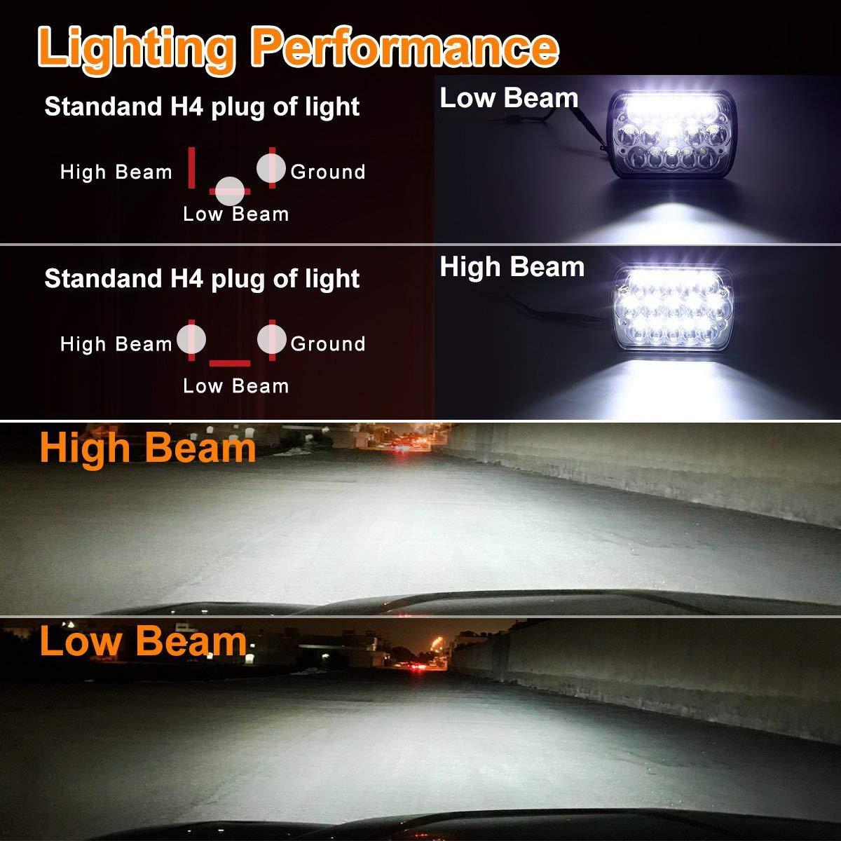 H6054 Led Headlights 2 Yr Warranty Pair 7x6 Dual Battery Wiring Diagram 86 Gmc C3500 5x7 Headlight 6054 Hi Low