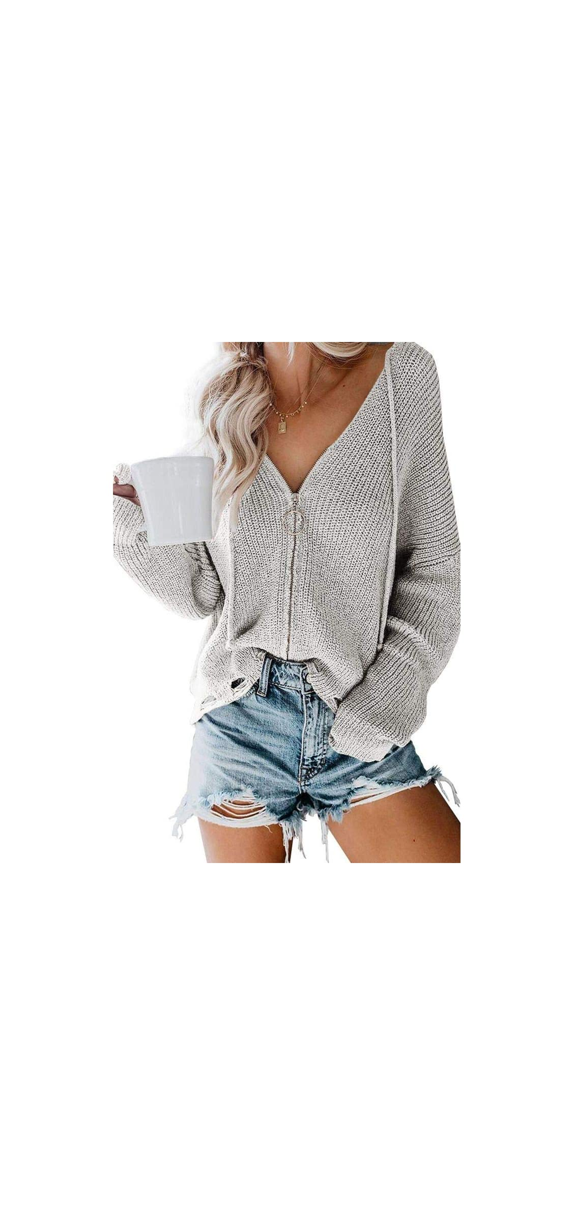 Womens Oversized Pullover Sweaters Zip Up Cardigan With