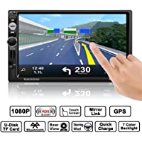 "Lettore MP5 per auto, LESHP 7 Pollici ""HD Touch Screen Navigatore GPS Bluetooth Radio 2 din per auto FM / AM USB Stereo Video Controllo Telecomando, Mirrorlink (Supporto per Android e Apple)"
