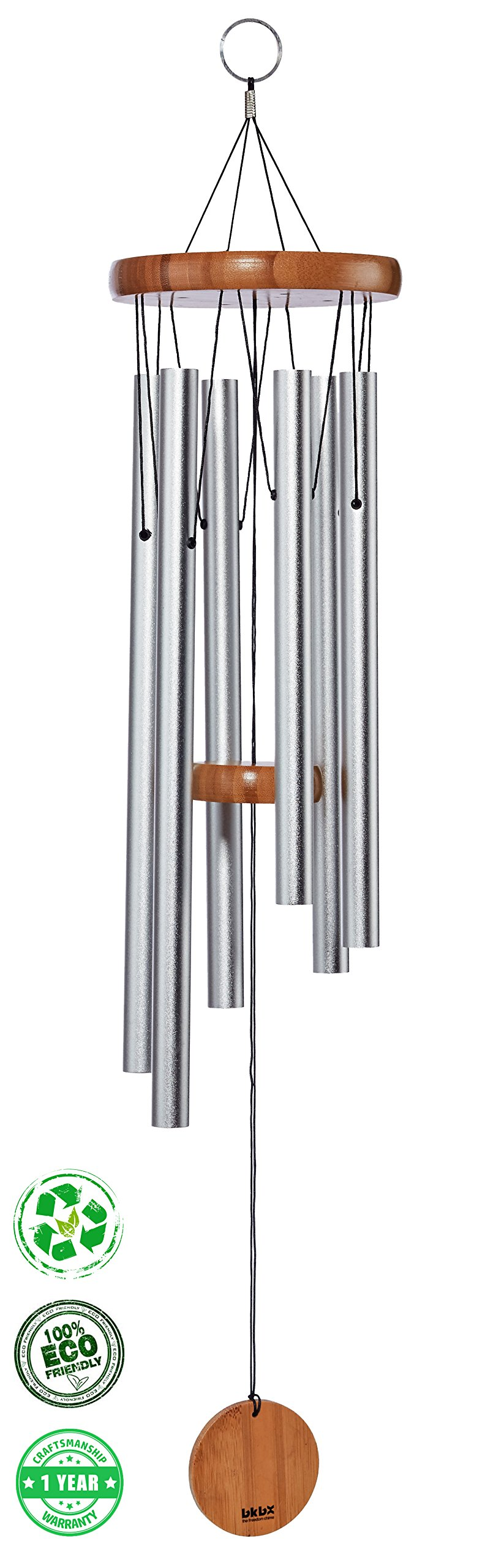 Brooklyn Basix Freedom Chime for Patio, Garden, Terrace and Balcony - Beautiful Outdoor Decor - Easy to Install Wind Chimes - Durable and Hand Tuned (Natural/Matte Silver, Medium 29'')
