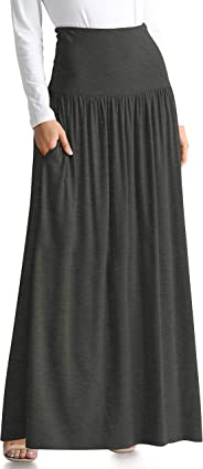 Simlu Womens Long Maxi Skirt with Pockets Reg and Plus Size