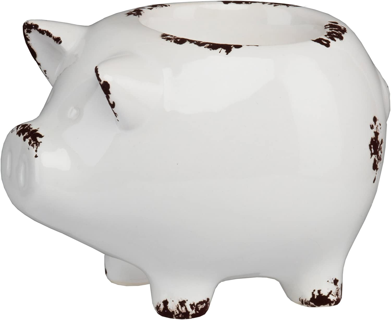PRINZ Farmhouse Pig Tea Light Holder, White