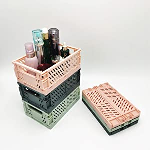 Plastic Collapsible Crate Folding Storage Basket For Shelves , Stackable Container Organizing Bins For Storage For Home Office Kitchen Bathroom Grocery (M: 9.966.54.06in(3pcs), Macaron Green(new))