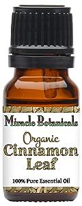 Miracle Botanicals Organic Ceylon Cinnamon Leaf Essential Oil - 100% Pure Cinnamomum Zeylanicum Blume - Therapeutic Grade - 30ml/1oz, 60ml/2oz, 120ml/4oz (10ml)