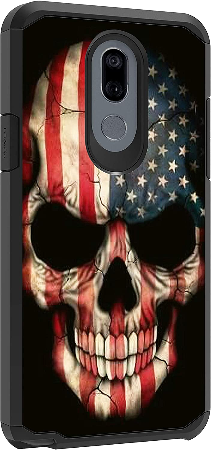 TurtleArmor | Compatible with LG Stylo 5 Case | Stylo 5 Plus Case | Stylus 5 Case | L722DL | Slim Dual Layer TPU Hard Armor Hybrid Shell Case - US Flag Skull