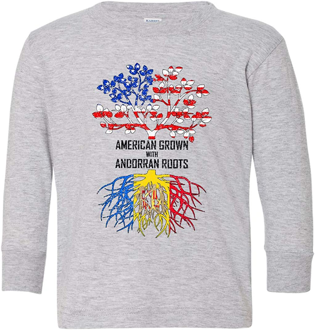 Tenacitee Toddlers American Grown with Andorran Roots Long Sleeve T-Shirt