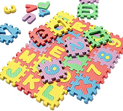36Pcs Baby Kids Interlocking Play Mats EVA Foam Alphabet Childrens Puzzle Number