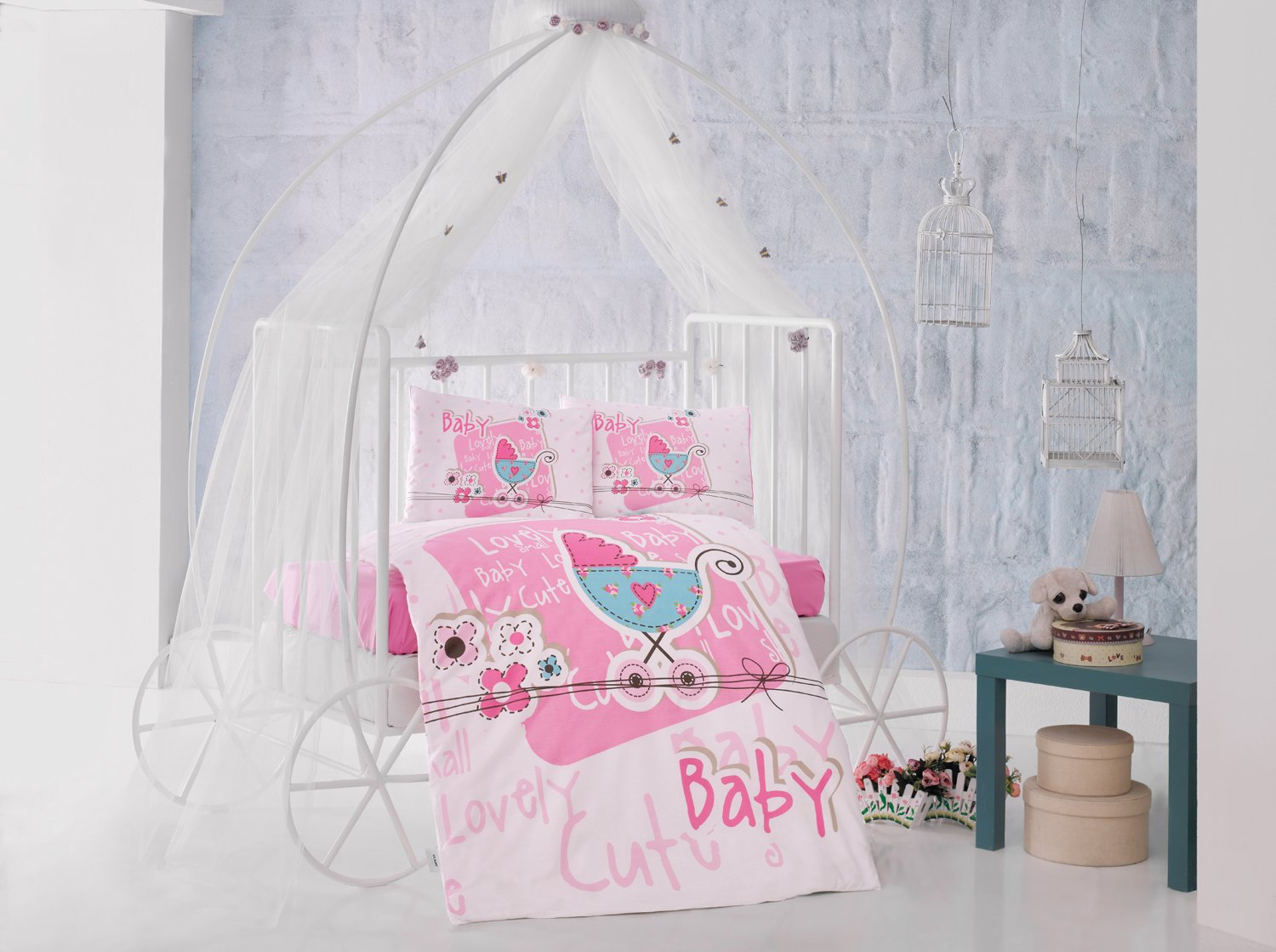 Lovely baby Pink Baby Cot Bed Duvet Cover Set, 100% Cotton Soft and Healthy 4-Pieces Bedding Set