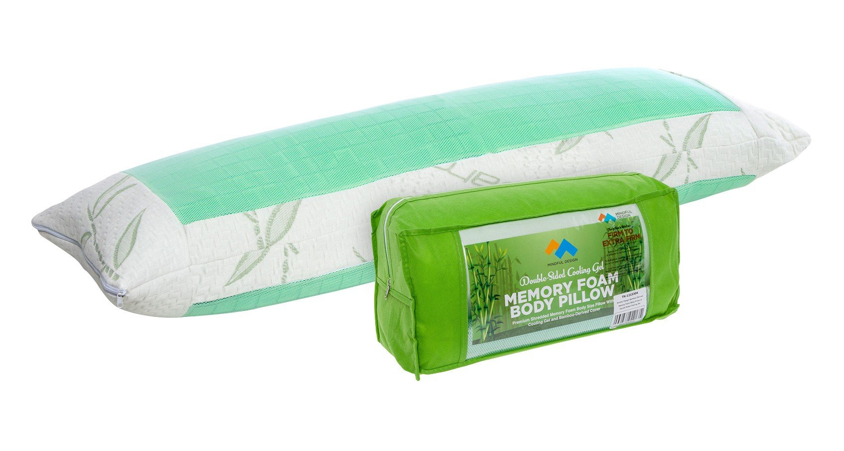 Mindful Design Double Sided Cooling Body Pillow - Firm w/Bamboo Derived Cover