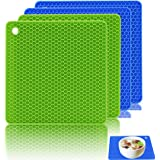 Ankway Silicone Pot Holder, Insulation Non-slip Pot Holders Silicone Mat Heat Resistant Mat Kitchen Pot Holders Green & Blue (Pack of 4)