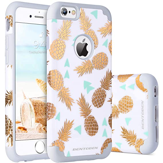buy online a095f e2d4c iPhone 6s Case, iPhone 6 Case Pineapple, BENTOBEN Super Slim Gold Pineapple  Design Hard PC Soft Rubber Glossy Anti-Scratch Shock Proof Protective Case  ...