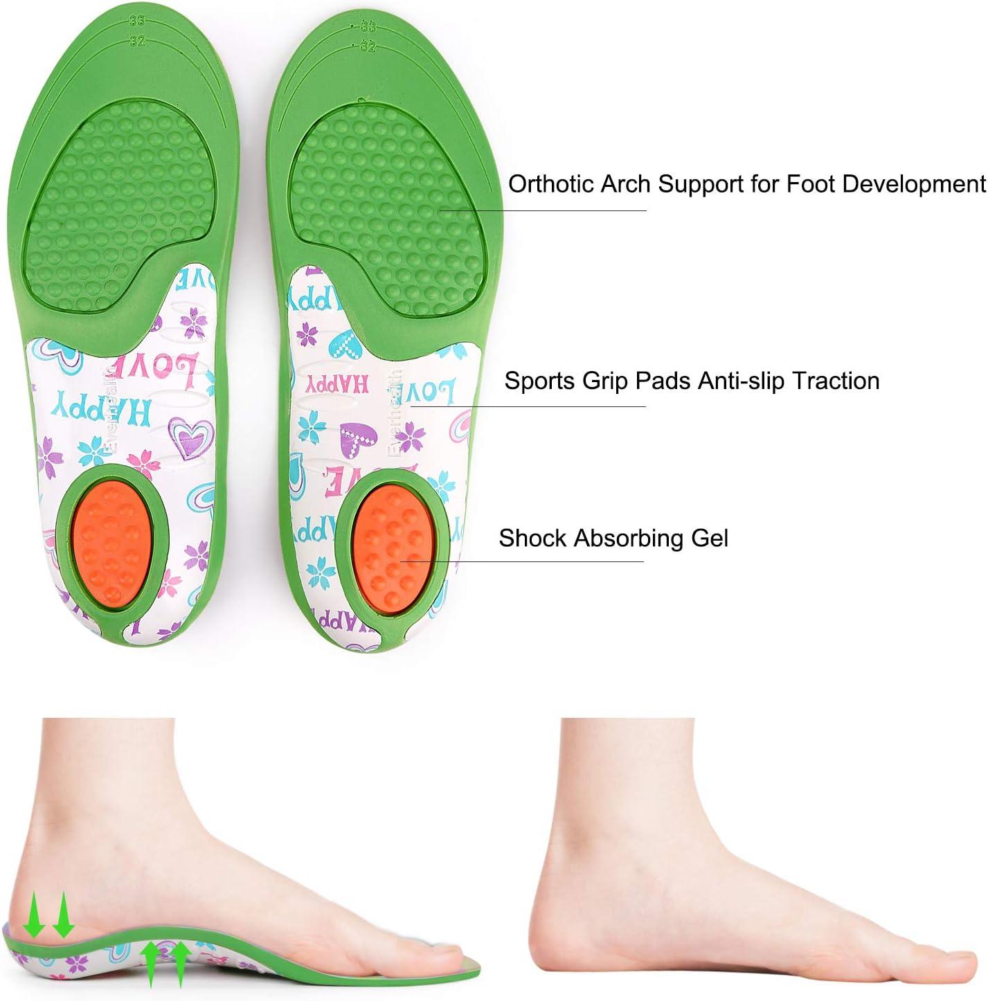 Pies planos 20-22 EU Suela interna que absorbe los golpes Cojines para el tal/ón Pronaci/ón por debajo//por encima Plantillas para ni/ños Insertos de zapatos Ortesis Comfort Arch Support