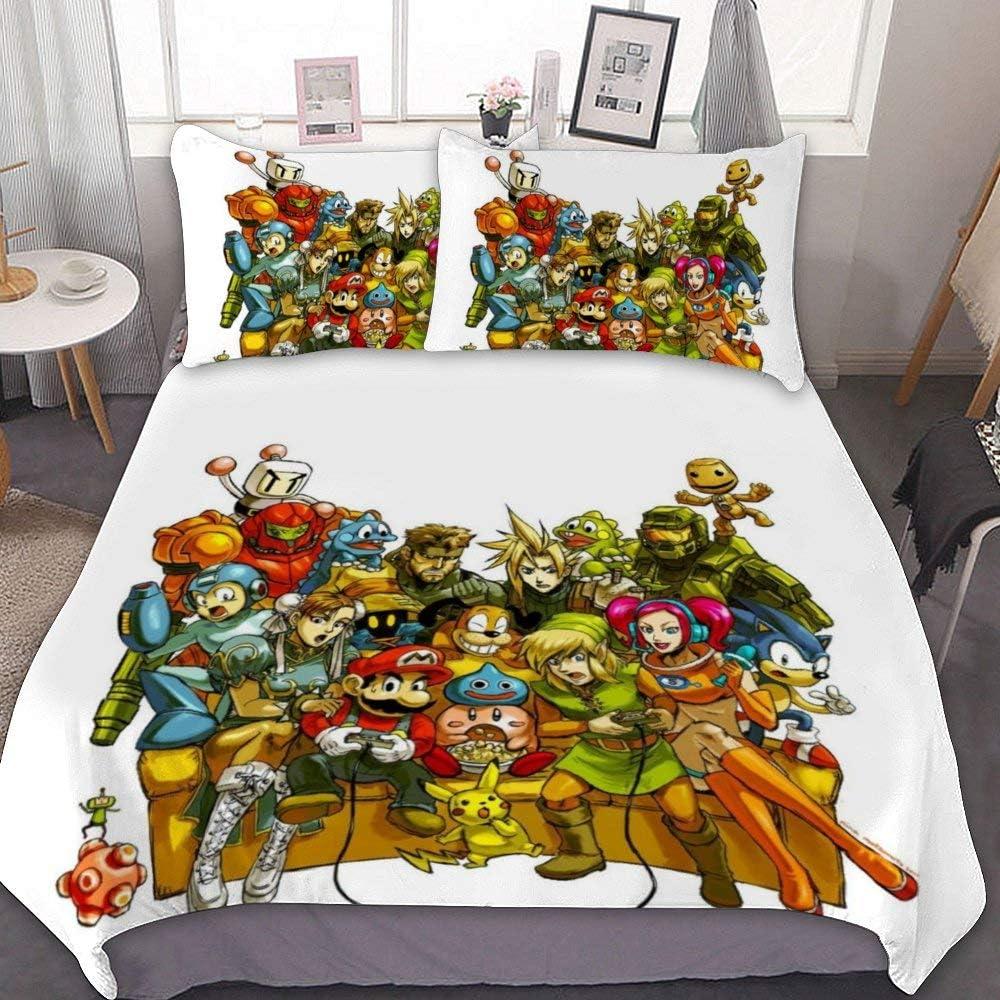 Harvey Rhodes Super Mario The Legend of Zelda Mega Man Little Big Planet Vivi,Comforter Set Full,3 Piece Bed Sets,Ultra Soft Microfiber Unisex Bedding Set Modern Pattern Printed