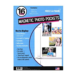 "Freez A Frame Clear Magnetic Picture Frames For Refrigerator School Locker, or any Magnetic Surface 16 Pack Holds (2) 5 x 7 ""(4) 4 x 6"" (10) 2.5 x 3.5"" Exclusive Photo Pockets"