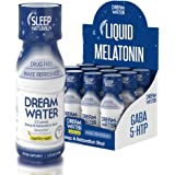 Dream Water Natural Sleep Aid, GABA, MELATONIN, 5-HTP, 2.5oz Shot, NighTEA Night, 12 Count