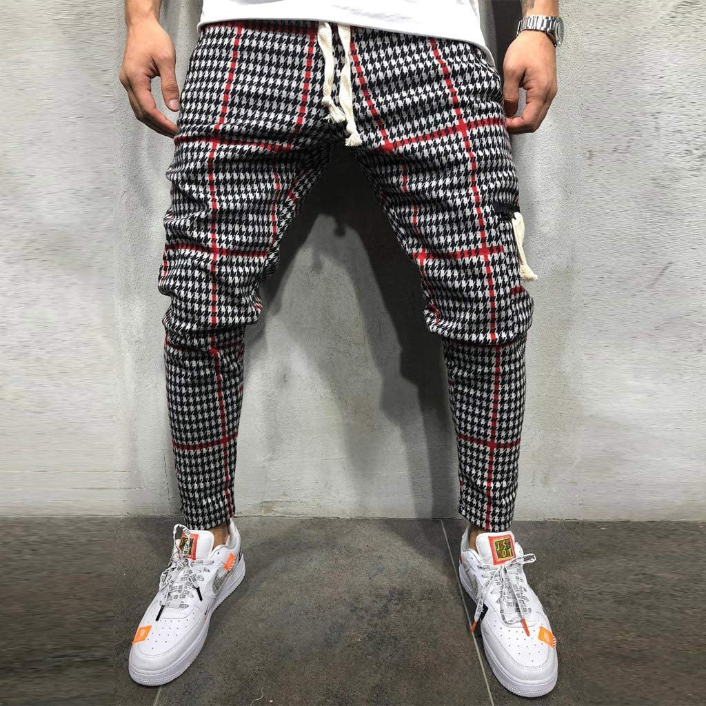 WAWAYA Mens Stitching Loose Fit Hip Hop Drawstring Casual Pants Trousers