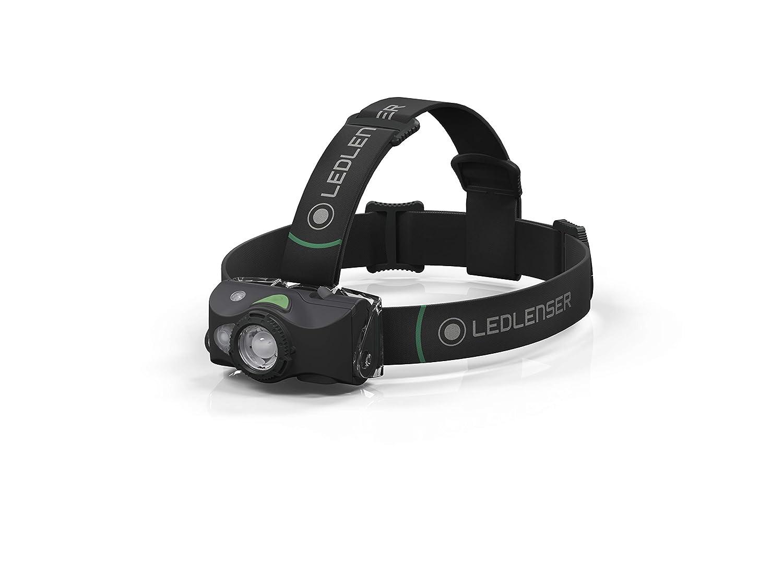 Ledlenser MH8 Linterna Frontal para Aventura al Aire Libre 600 l/úmenes, Rango de Haz de 200 m, Ideal para Caza y Pesca, Color Negro y Gris, 31 mm
