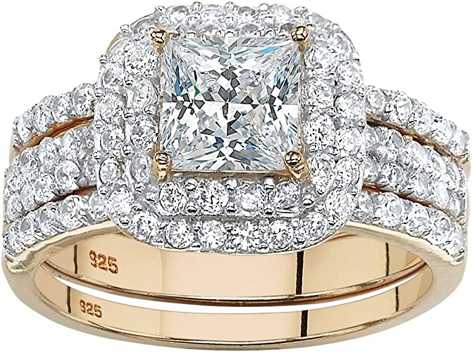 1.20 TCW 14k Gold over Sterling Silver Cubic Zirconia 2-Stone Engagement Ring