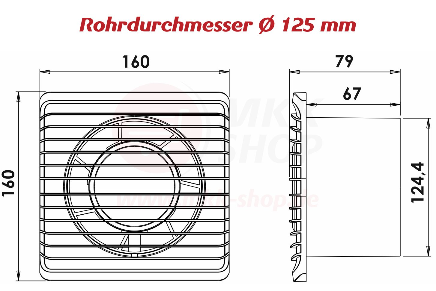 Badventilator /Ø 125 mm in wei/ß mit Netzstecker und Kippschalter L/üfter Ventilator Front Wandl/üfter Badl/üfter Ventilator Einbaul/üfter Bad K/üche leise 12,5 cm