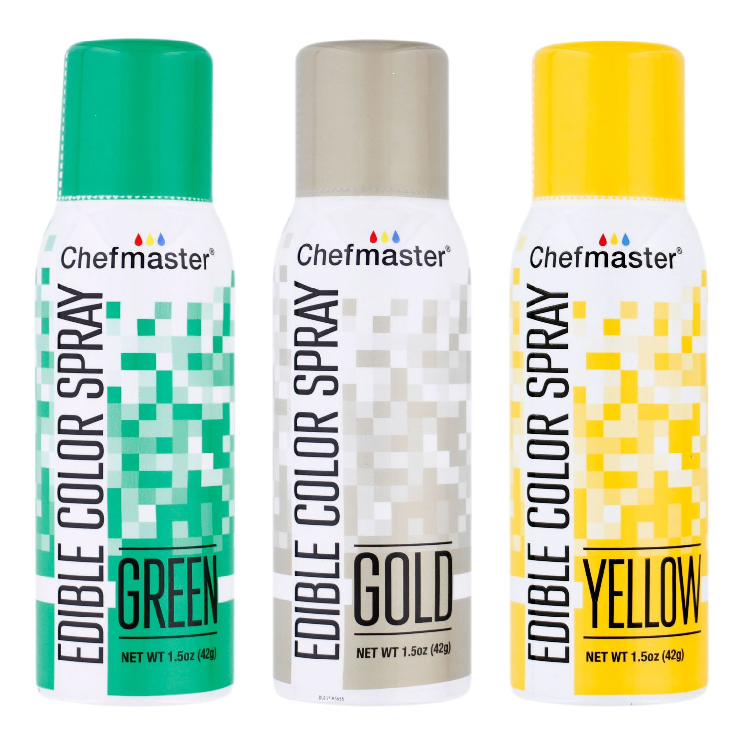 U.S. Cake Supply by Chefmaster Edible Spray Cake Decorating Color St Patricks Theme 3-Pack - 1.5 ounce Cans (Gold, Green, Yellow) by U.S. Cake Supply
