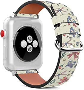 Compatible with Apple Watch - 42mm / 44mm (Serie 6/5/4/3/2/1) Leather Wristband Bracelet with Stainless Steel Clasp and Adapters - Cute Dragonfly Bow