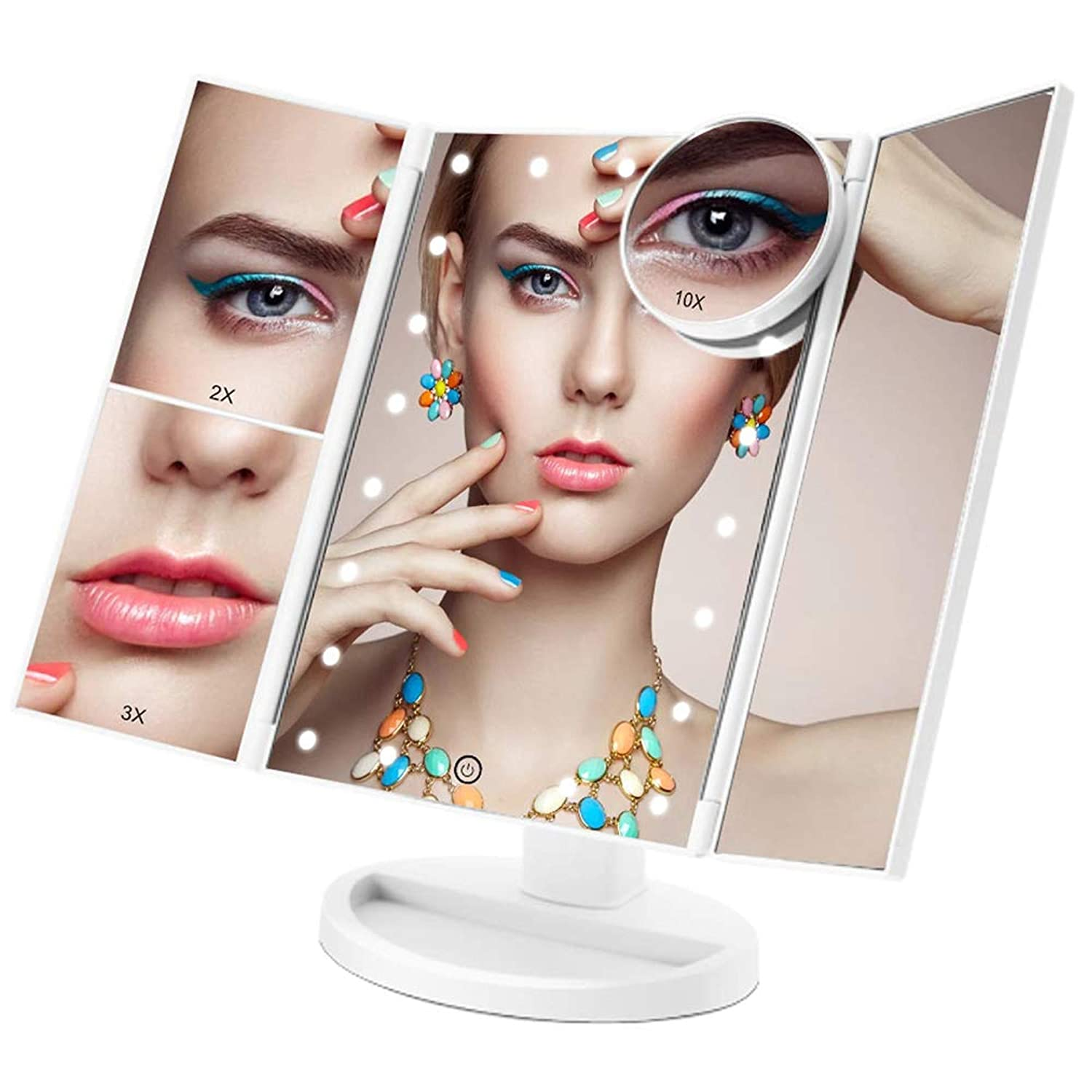 Trifold Makeup Vanity Mirror with 21 LED Lights