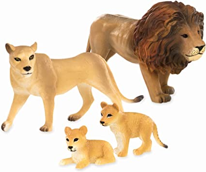 4 Pc Plastic Toy Tiger Safari Animals for Kids 3-Years-Old /& Up Tiger Family Terra by Battat