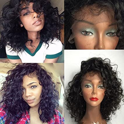 Maycaur Short Curly Lace Front Wigs Glueless Full Lace Human Hair Wig Bob Virgin Hair Wigs