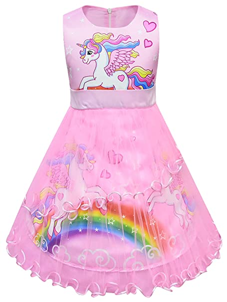 New front Niña Vestido de Fiesta Unicornio Desfraz Princesa sin Mangas Tul Bowknot Corazón Arcoiris Impresión Vestido Verano Festivo Boda Navidad ...