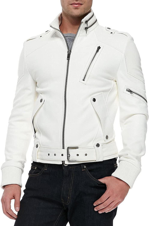 New Mens Leather Jacket Slim Fit Biker Motorcycle Genuine Lambskin Jacket T662