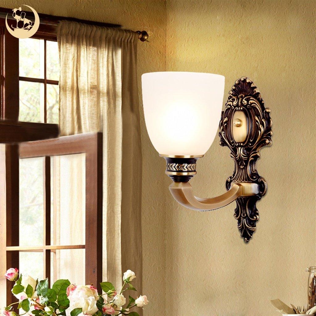 JIE KE All-kupfer Europäischen wandleuchte retro Atmosphäre schlafzimmer nachttischlampe einfache wohnzimmer esszimmer lampe hause treppenhaus gang lampen Kreative Wandleuchte