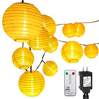 Lantern String Lights, Oak Leaf 10 Feet 15 LEDs 8 Modes Plug In Outdoor  Oriental Style LED ...