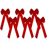 Iconikal 10-Loop Red Velvet Bows 11.5 x 26-Inch 6-Pack