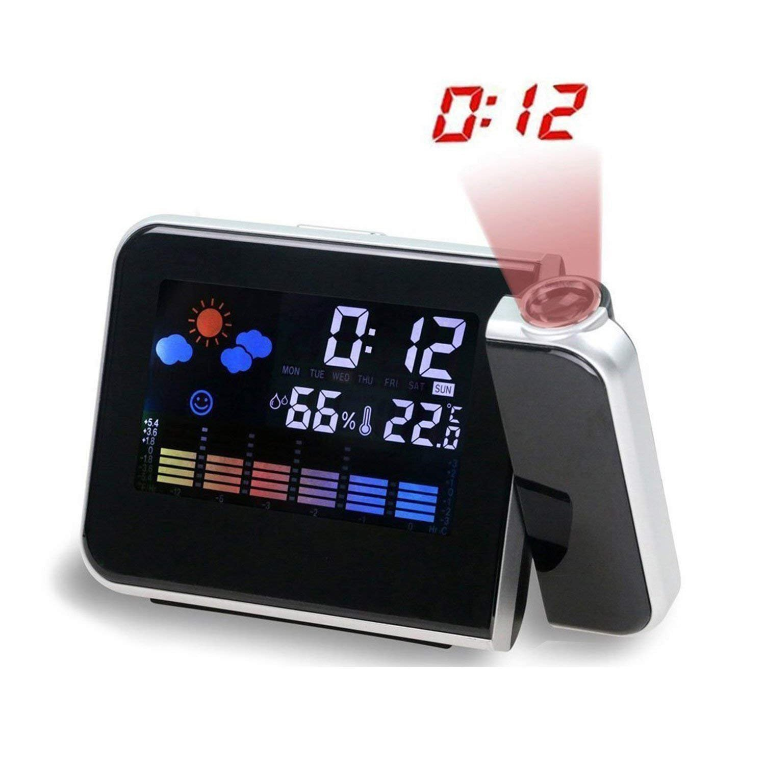 MUTANG Multi-function Digital Projection Alarm Clock With Weather Station Electronic Desk Clock Bedside Wake Up Clock Black, White (Color : Black)