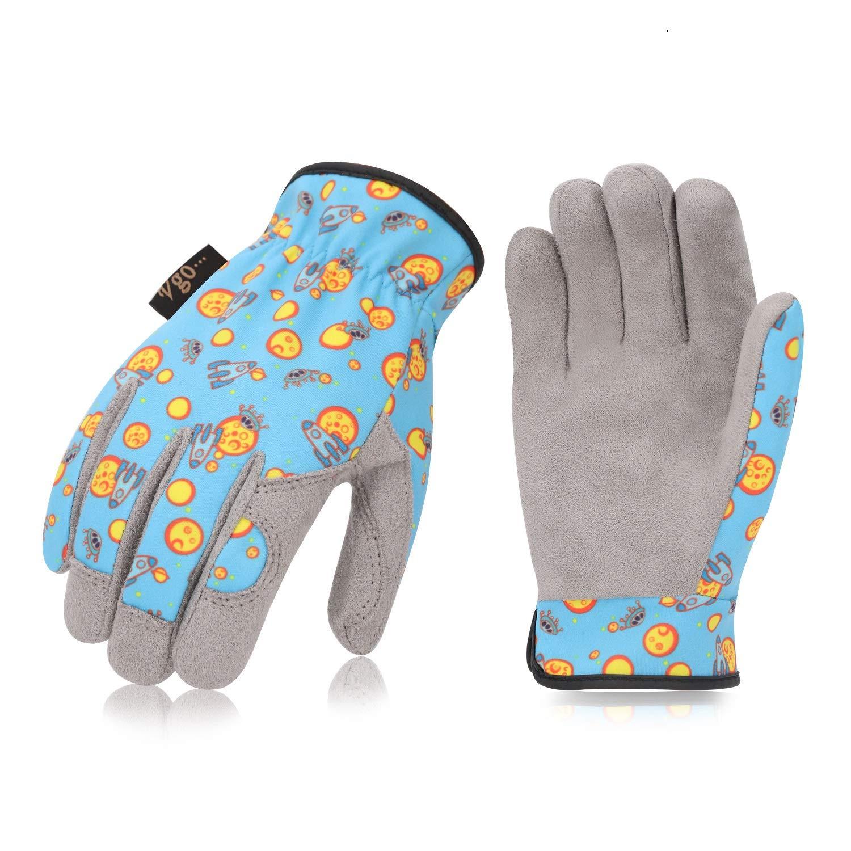 des travaux ordinaires Taille M//8, Bleu, KID-MF7362 Faux Cuir Vgo 1Paire de Gants de Jardinage en Cuir pour des Enfants 5~6ans