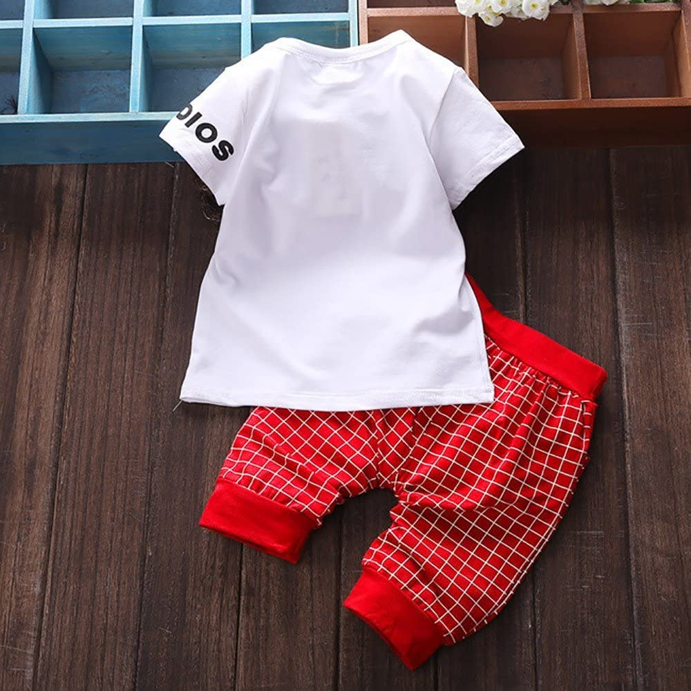 Fenleo Newborn Baby Boys Girls Letter Star Print Plaid Short Sleeve T-Shirt Tops Pants Outfit Set