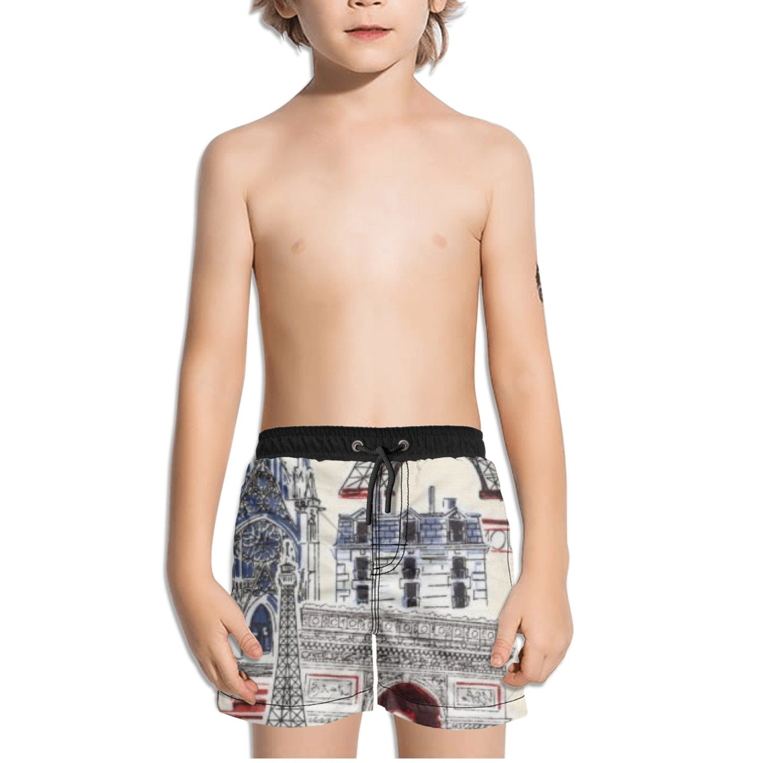 Ouxioaz Boys Swim Trunk Dream Vacation Paris French Beach Board Shorts