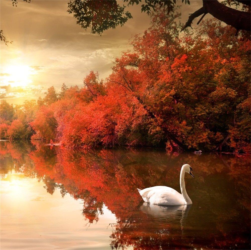 LFEEY 5x5フィート ファンタジー 秋 レイクサイド 景色 背景幕 写真 塗り絵 紅葉 ブッシュ 白鳥 湖の背景 写真撮影 ブース小道具   B07G36S36C