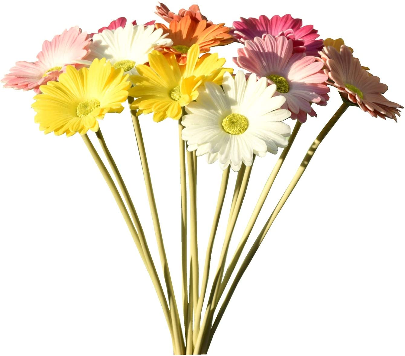 """Mandy's 12pcs Multicolor Artificial Latex Daisies 15"""" for Party Home Kitchen Decoration (vase not Include)"""